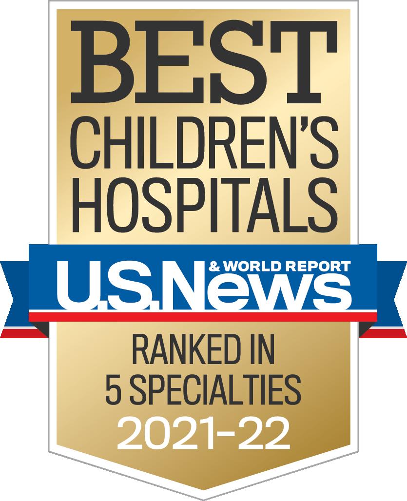 Best Children's Hospitals award, ranked in 5 specialties