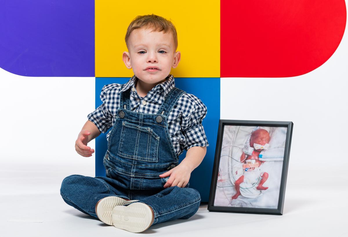 Brady with his NICU photo