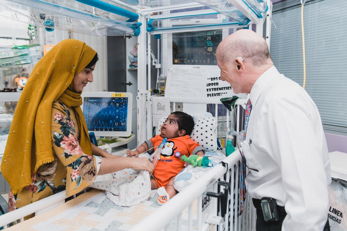 Mother and child in PICU with Dr Zucker
